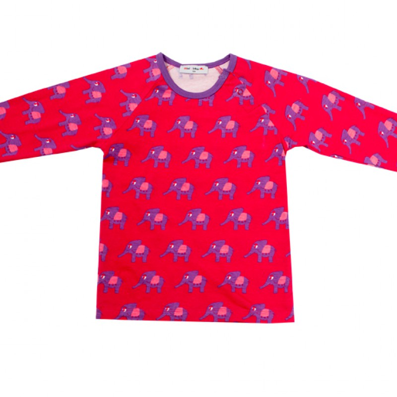 Mini Cirkus - Elephant bright rose longsleeve