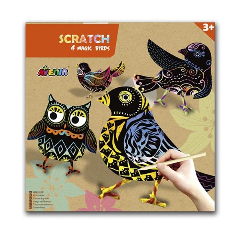 Avenir - scratch art- magische vogels