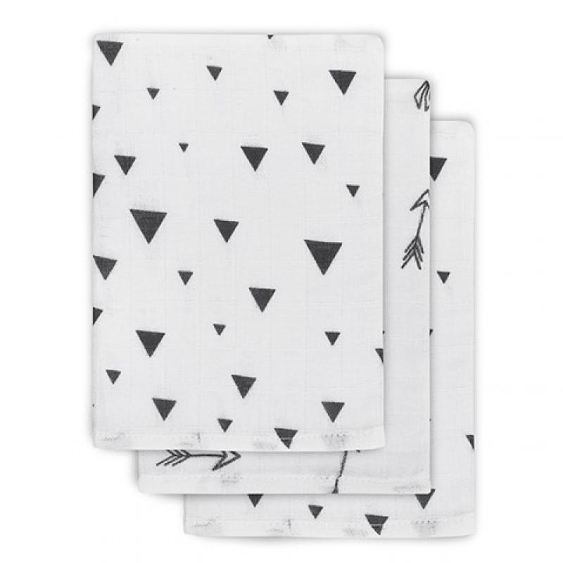 Jollein - Hydrofiel washandje Indians black & white ( 3 pack )