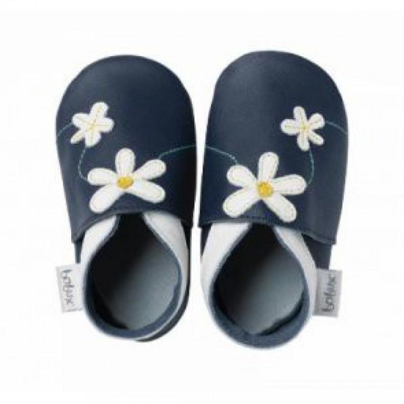 Bobux - Soft sole blauw met bloemen