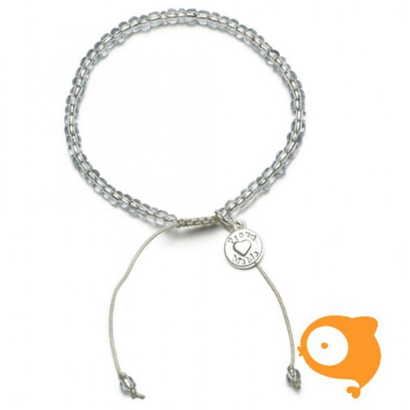 Proud Mama - Armband beads grijs