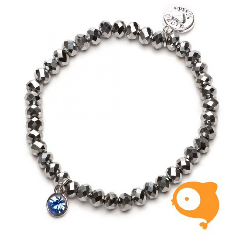 Proud Mama - Armband charm zilver blauw