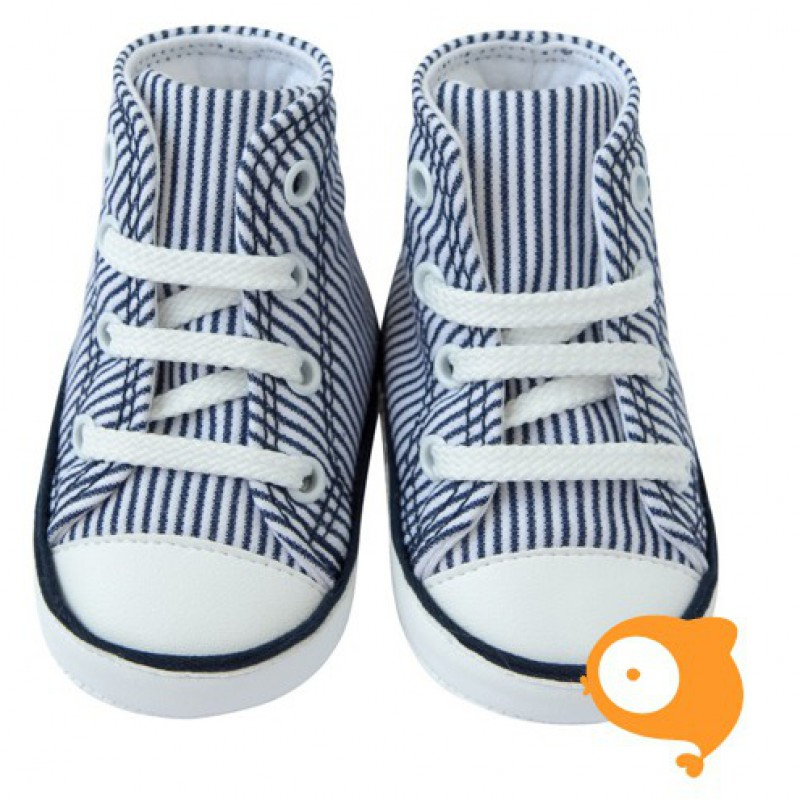 Fior di Coccole - Babyschoentjes white stripes blue