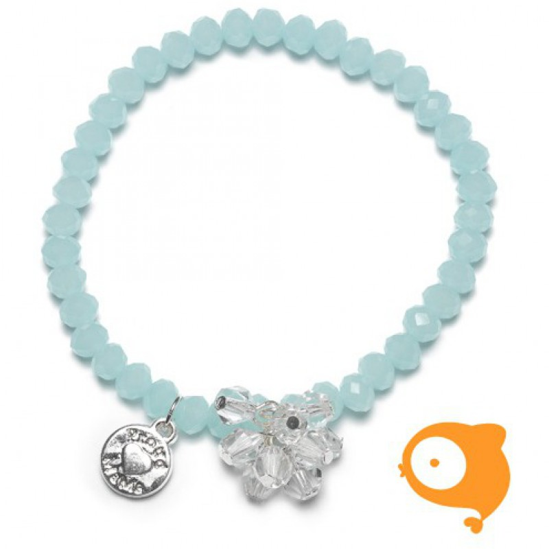 Proud Mama - Armband charm blauw beads