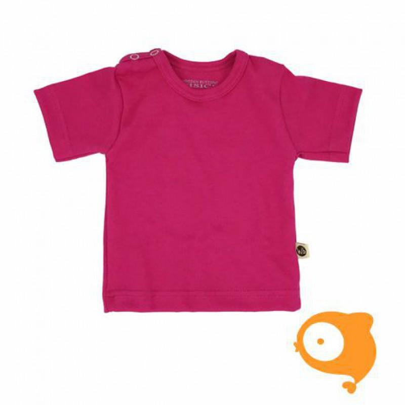 Wooden Buttons - T-shirt fuchsia