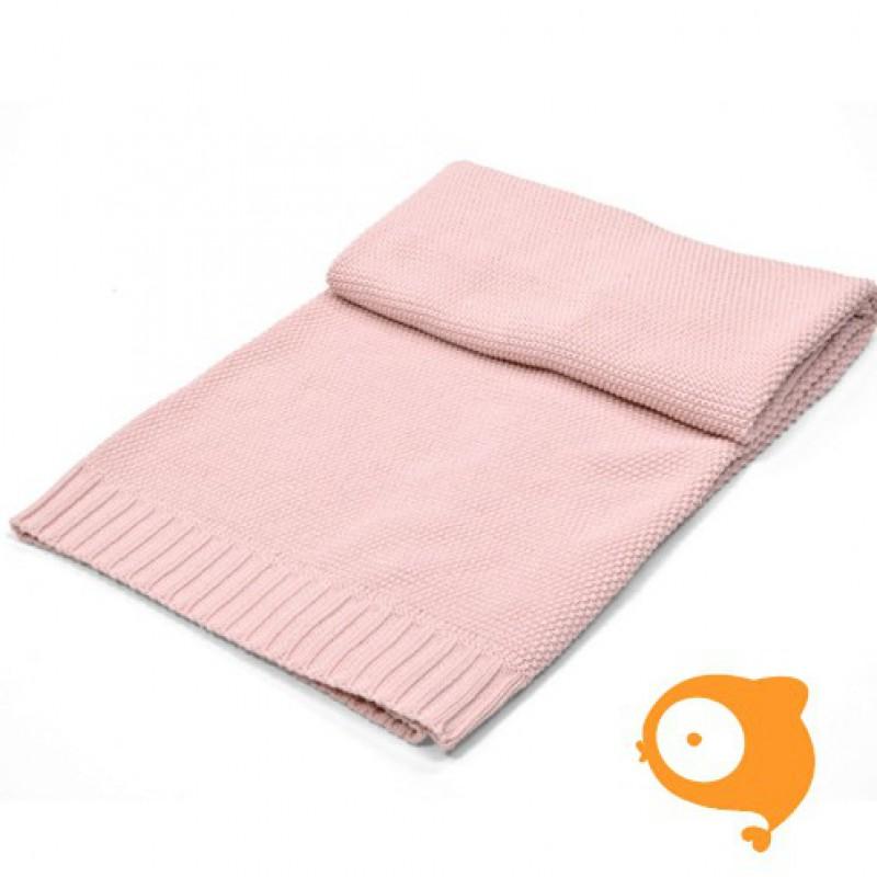 Poetree - Gebreide katoenen deken licht roze 80 x 100 cm