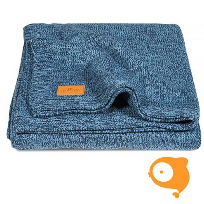 Jollein - Deken 75 x 100 stonewashed knit navy/teddy