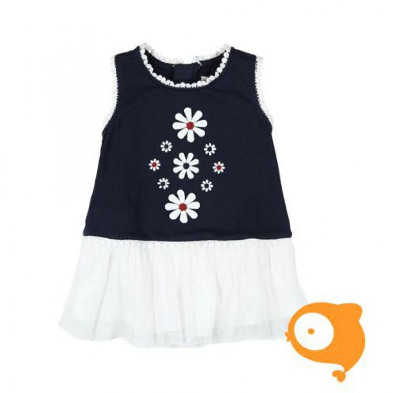 Boboli - Kleedje blauw/wit met bloem