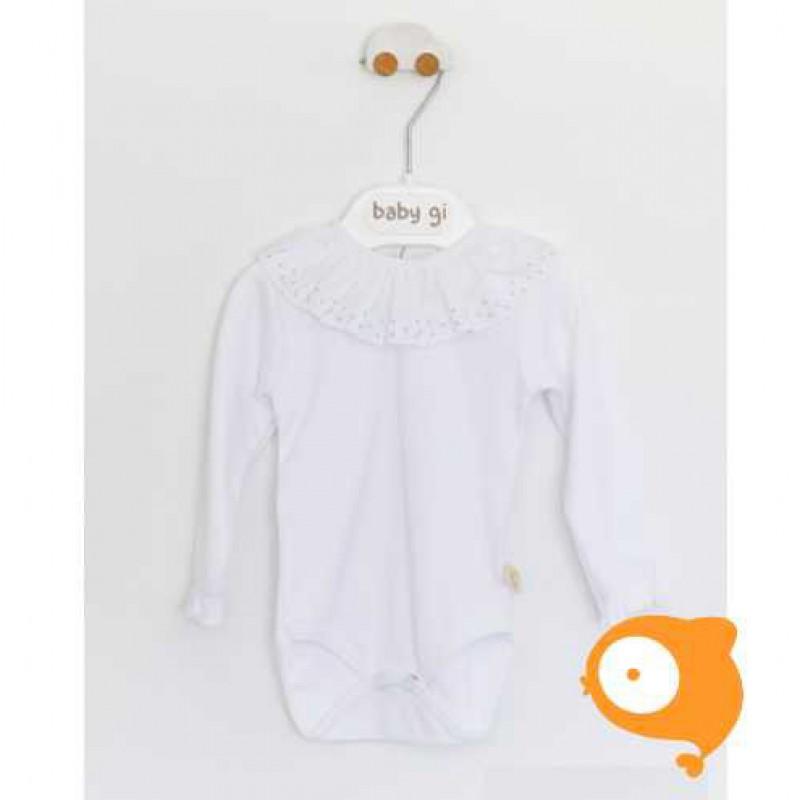 Baby Gi - Body met kraag met grijze stippen