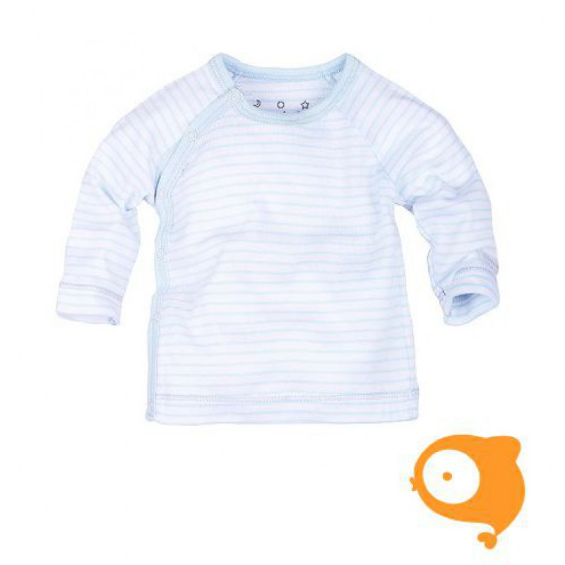 Claesen's - Newborn longsleeve overslag blauw/wit gestreept