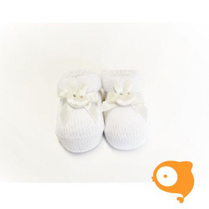 Fior di Coccole - Gebreide sokjes wit met konijntje Newborn (Katoen)
