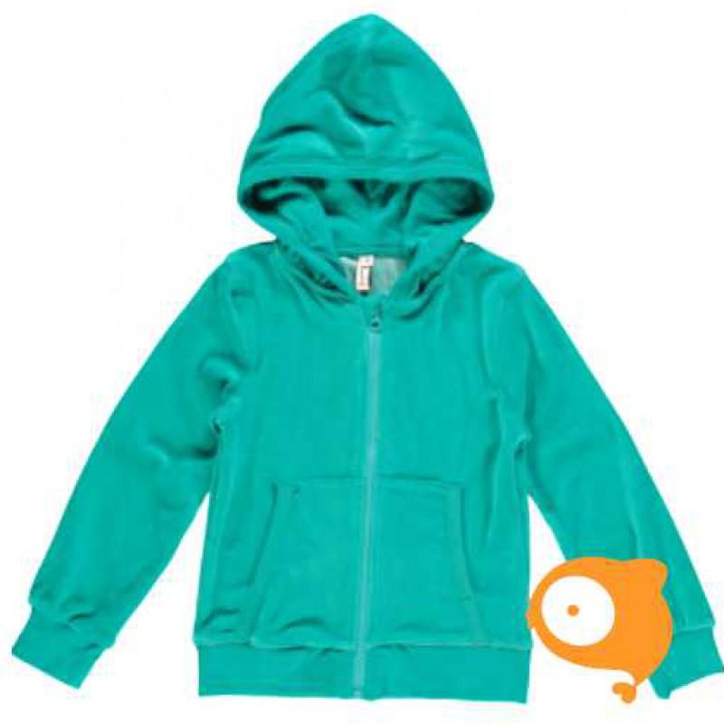 Maxomorra - Cardigan hood velour turquoise