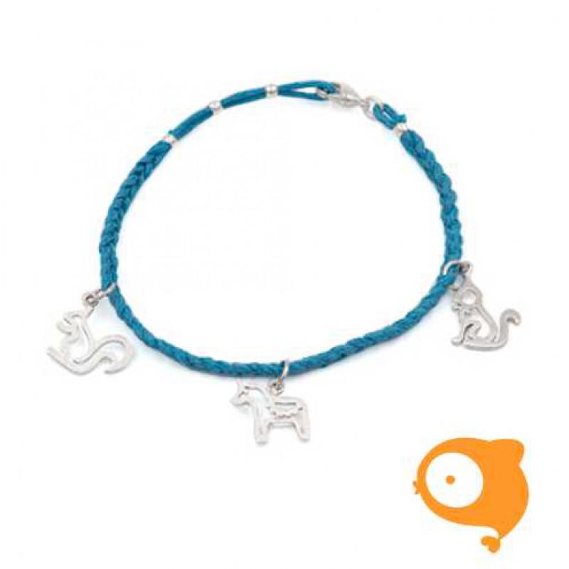 By Nebuline - Armband blauw met eekhoorn-paard-kat in sterling zilver