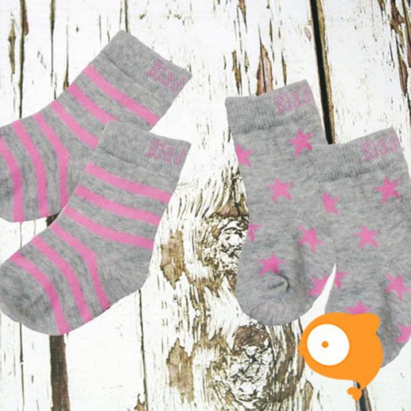 Blade&Rose - Sokjes marl grey & pink (set van 2 paar)