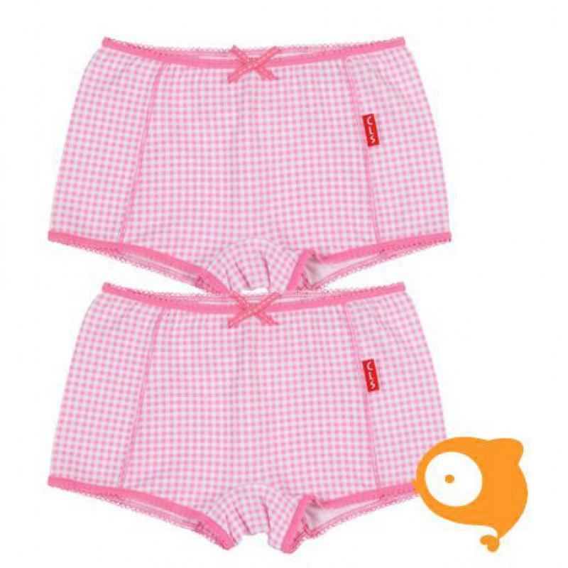 Claesen's - Set van 2 boxershorts meisjes roze/wit geruit