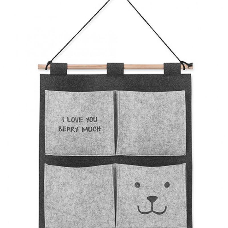 Jollein - wandorganizer 50x47cm felt Bear grey