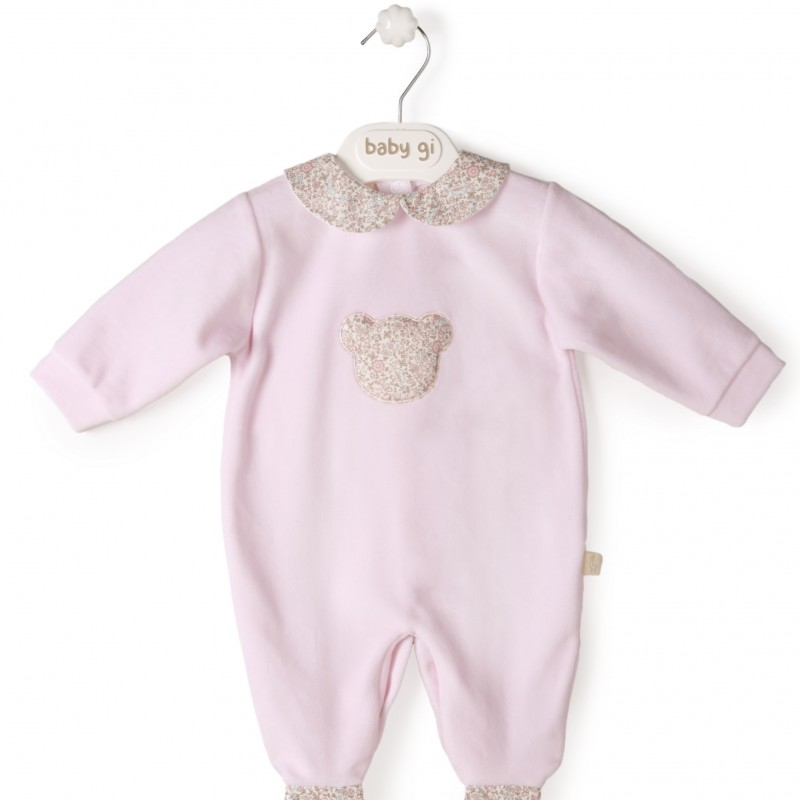 Baby Gi - pyjama velour pink little teddy - flowers