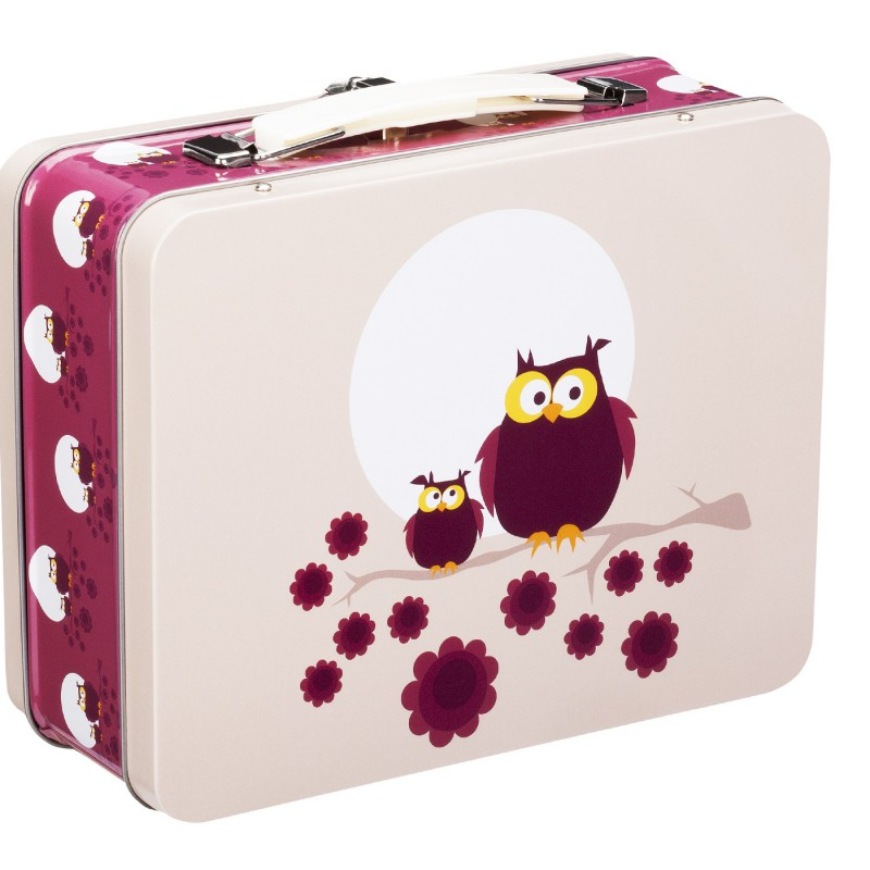 Blafre - tin suitcase owl plum red