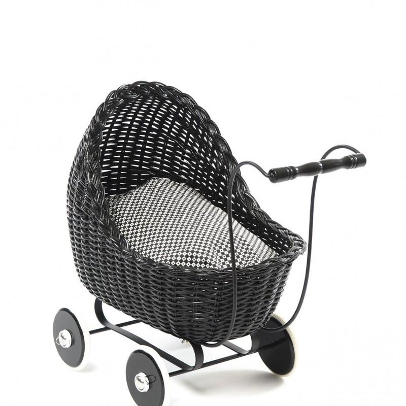 Smallstuff - poppenwagen rotan zwart