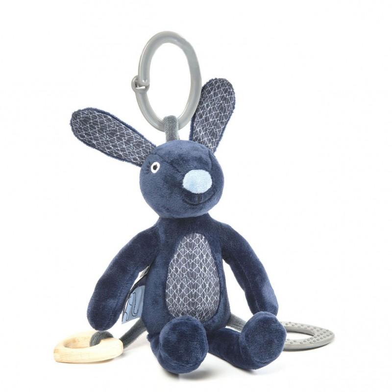 Smallstuff - activiteitenknuffel konijn blauw