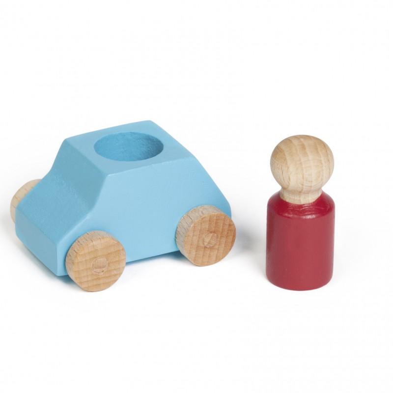 Lubulona - houten auto met popje - turqoise