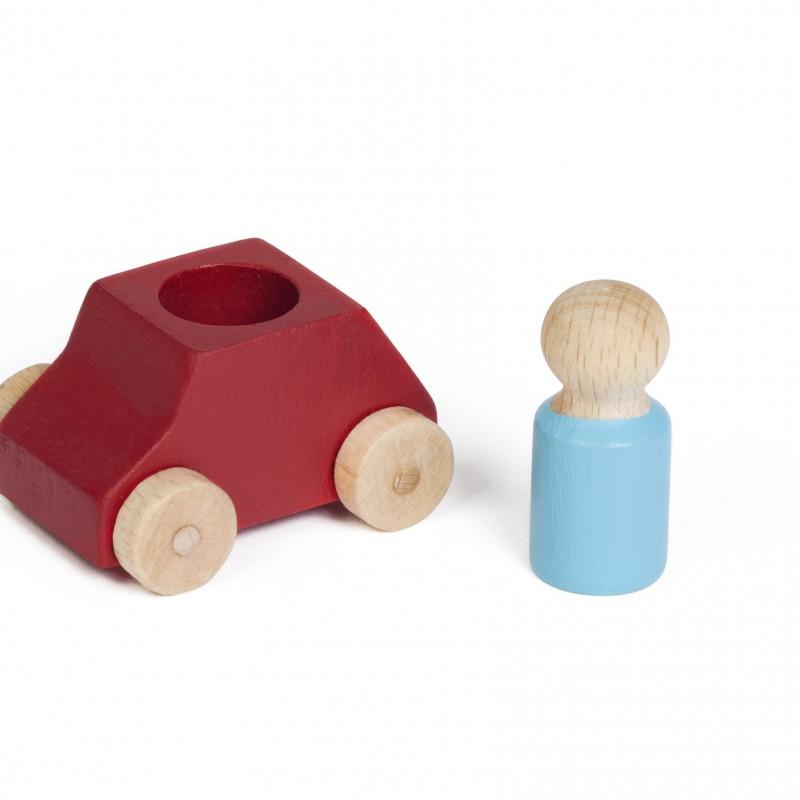 Lubulona - houten auto met popje - rood