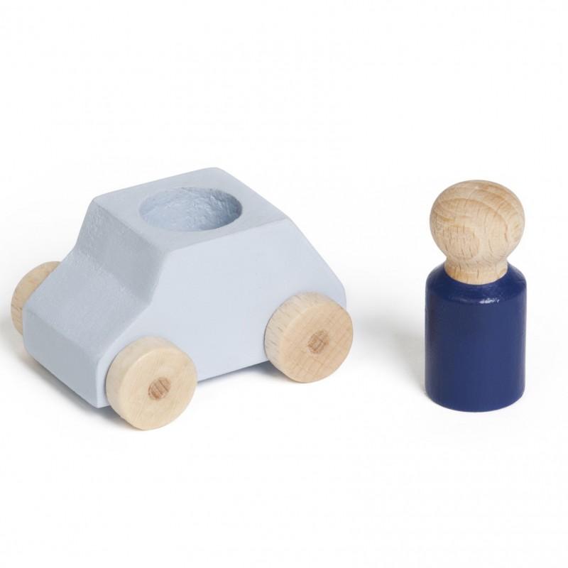Lubulona - houten auto met popje - grijs