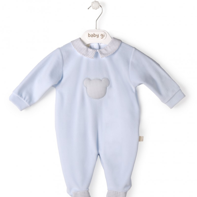 Baby Gi - pyjama velour blue little teddy - vichy