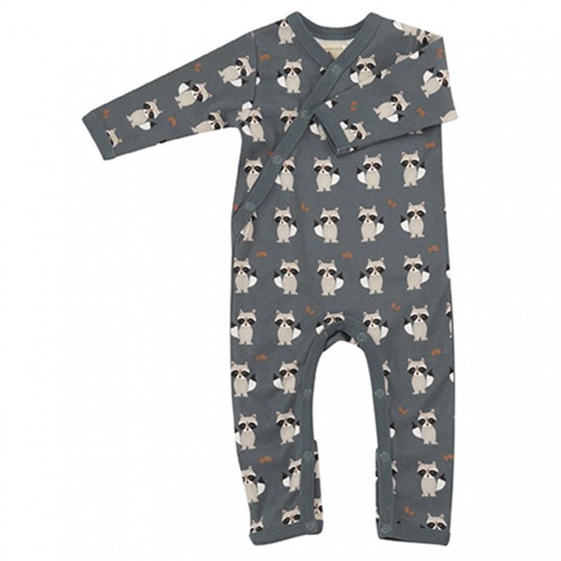 Pigeon - pyjama romper raccoon - teal