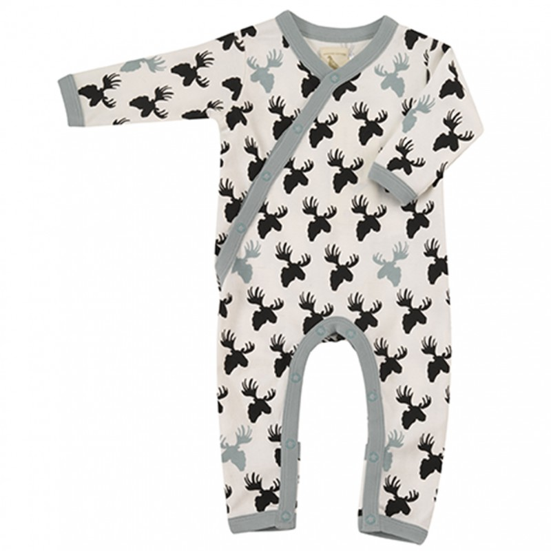 Pigeon - pyjama romper moose head - black/white
