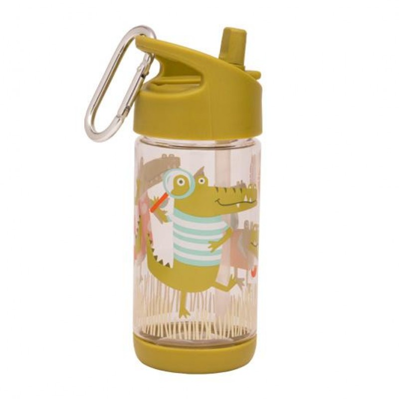 Sugarbooger - Flip & Sip clear Tritan drinking bottle ollie gator
