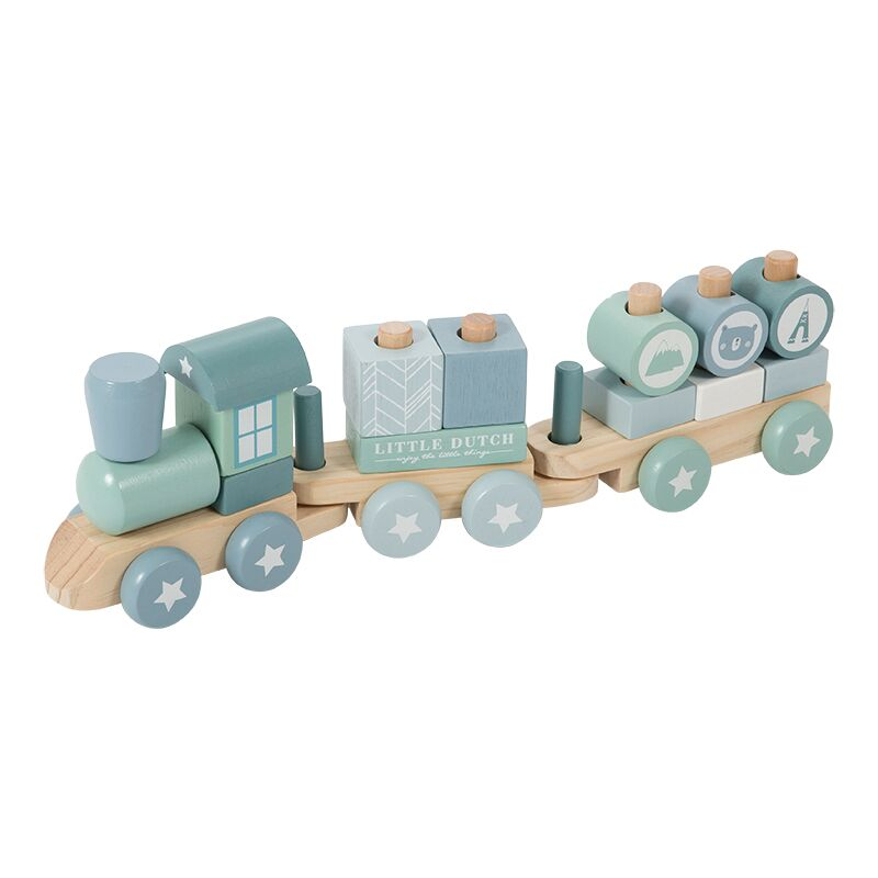 Little Dutch - Blokkentrein hout - adventure blue